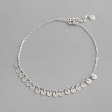 Fashion 100% S925 Sterling Silver Coin Anklets Tassel Round Foot Chain Anklet bracelet Fine Silver Woman Beach Party Gift antique silver coin tassel anklet 1pc