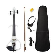 Полный Размеры 4/4 твердая древесина Тихая электрическая скрипка кленовое тело Ebony гриф с колками подбородка хвостовой
