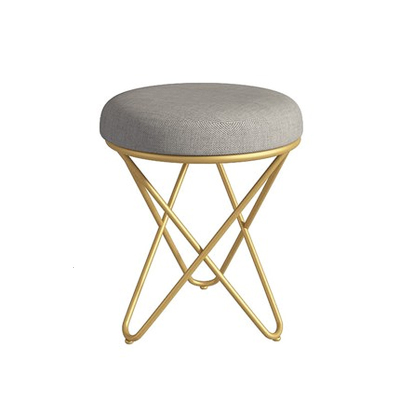 Modern Minimalist Creative Bedroom Princess Dresser Stool Nordic No Back Makeup Chair European Iron Manicure Chair