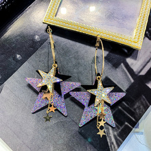 2019 New style Bling Crystal Brincos Hollow Star tassel drop long earrings for women exquisite rhinestone fashion jewelry Gift