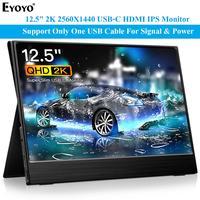 Eyoyo EM12R Portable Monitor USB C HDMI 12.5 IPS 2K 2560x1440 LCD Display Second Screen for Mac Laptop Phone Xbox Switch PS4