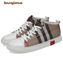 Buqima 2019 High-quality leather mens sneakers flat-soled canvas shoes comfortable sports adult leisure