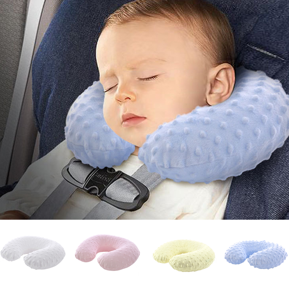 U Shape Inflatable Sleeping Washable Baby Soft Head Holder Travel Pillow Nap Car Airplane Mini Massage Particles Neck Support