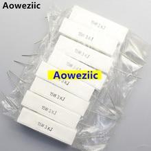 10 pçs 15w3kj 15 w 3 k rx27 resistor de cimento horizontal 15 w 3 k ohm 15w3k 3000r resistência cerâmica 5% resistência de energia