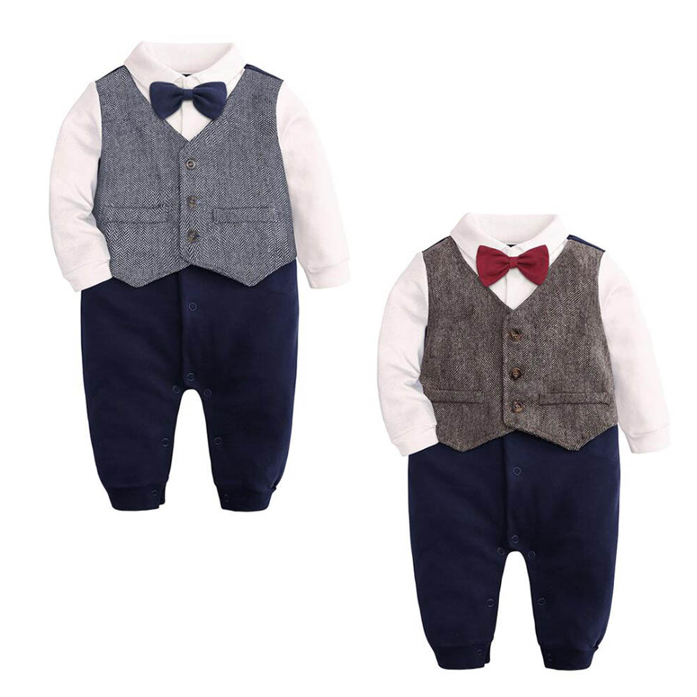 baby boys cotton Tuxedo suit birthday bodysuit outfits /& sets party wedding suit
