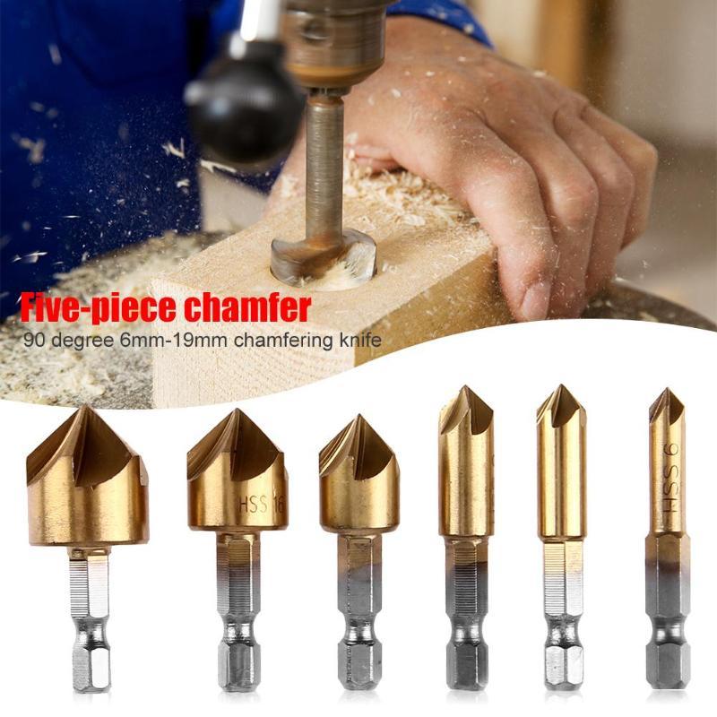 6pcs Hex Shank Drill Bits 90 Degree 6mm-19mm Countersink Chamfer HSS Chamfer Cutter Woodworking Power Tool Accessories