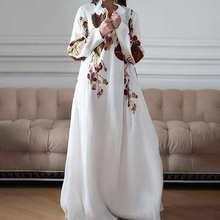 Spring Long Sleeve Women Sundress VONDA Bohemian Print  Dress Stylish Maxi Dress 2021 Casual Sexy V-neck Party Beach Robe 5XL