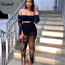 Club Outfits Mesh Matching Two-Piece-Set Ruffle-Sleeve Sheer Split-Pant Off-Shoulder