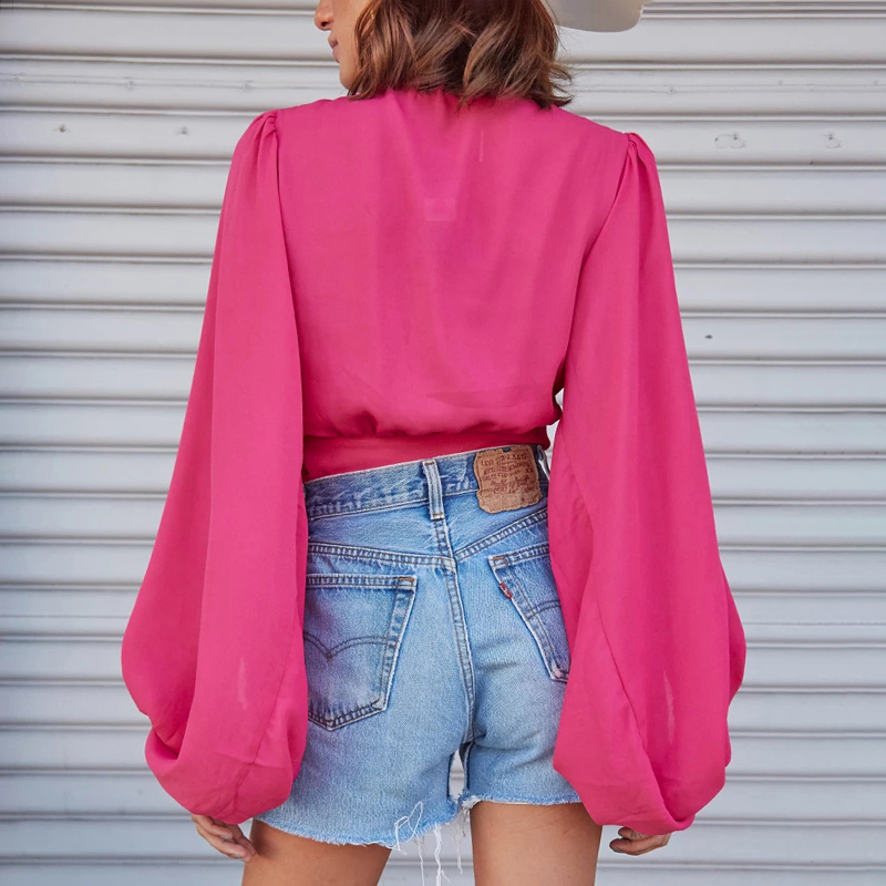 Wannathis Deep V-Neck Blouse Women Front Button Lantern Sleeve Autumn New Sexy Elegant Cropped Top Loose Sleeve Slim Solid Tops
