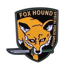 С надписью «Fox Hound» Специальные силы металлический значок на лацкан шестерни массивные вентиляторы коллекции показать вашу лояльность Большой Босс