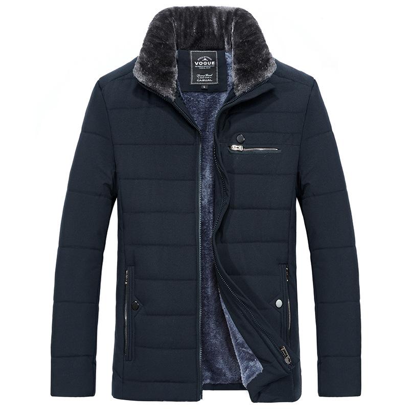 Men\'s Warm Jacket Winter Parka Fur Collar Windbreaker Cotton Padded Anorak Thick Black Coat Male Casual Autumn Fleece Jacket Men