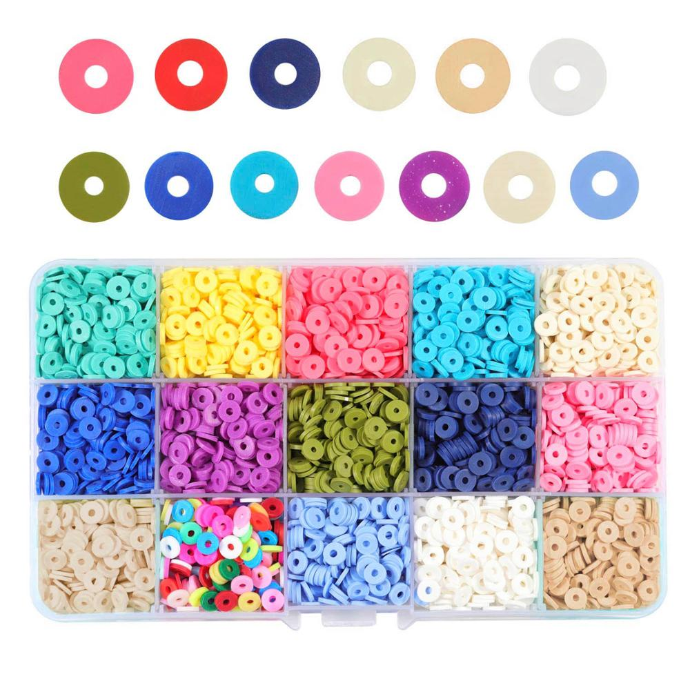 SAUVOO 15 renk 6mm polimer kil boncuklar Disk yuvarlak Heishi boncuk çip Disk gevşek Spacer DIY takı yapımı için bilezik kolye