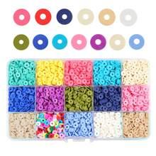 SAUVOO – perles rondes Heishi en argile polymère, 15 couleurs, 6mm, disque à puces, espaceur ample pour la fabrication de Bracelets et de colliers