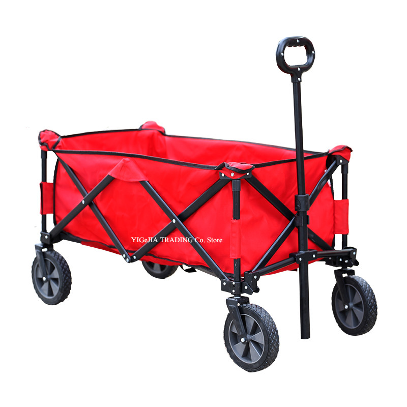 Folding Wagon Cart with 17cm Solid Wheels, Steel Frame Outdoor Utility Wagon, Small Volume Portable Hand Cart image