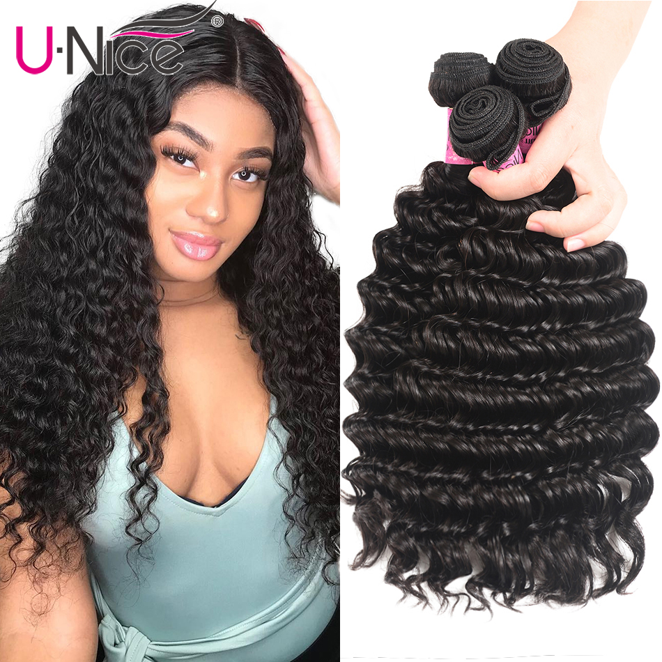 UNice Hair Deep Wave Brazilian Hair Weave Bundles Natural Color Remy Human Hair Weaving 12-26inch 1/3/4 Piece Free Shipping