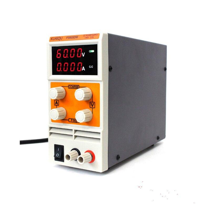 Миниатюрный импульсный источник питания KUAIQU PS605DM, 60 В, 5 А, 110 В постоянного тока, лабораторный Цифровой переменный Регулируемый источник пит...
