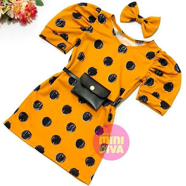 2020 Fashion Infant Girls Dress Polka Dot Print Puff Sleeve Straight Mini Dress 2 Colors 6M-5Y