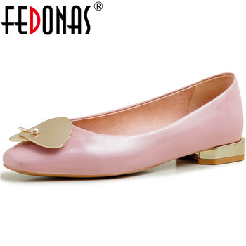 FEDONAS Women Cow Patent Leather Shoes Square Toe Thick Heel 2020 Spring New Metal Decoration Sweet Fashion Party Shoes Woman