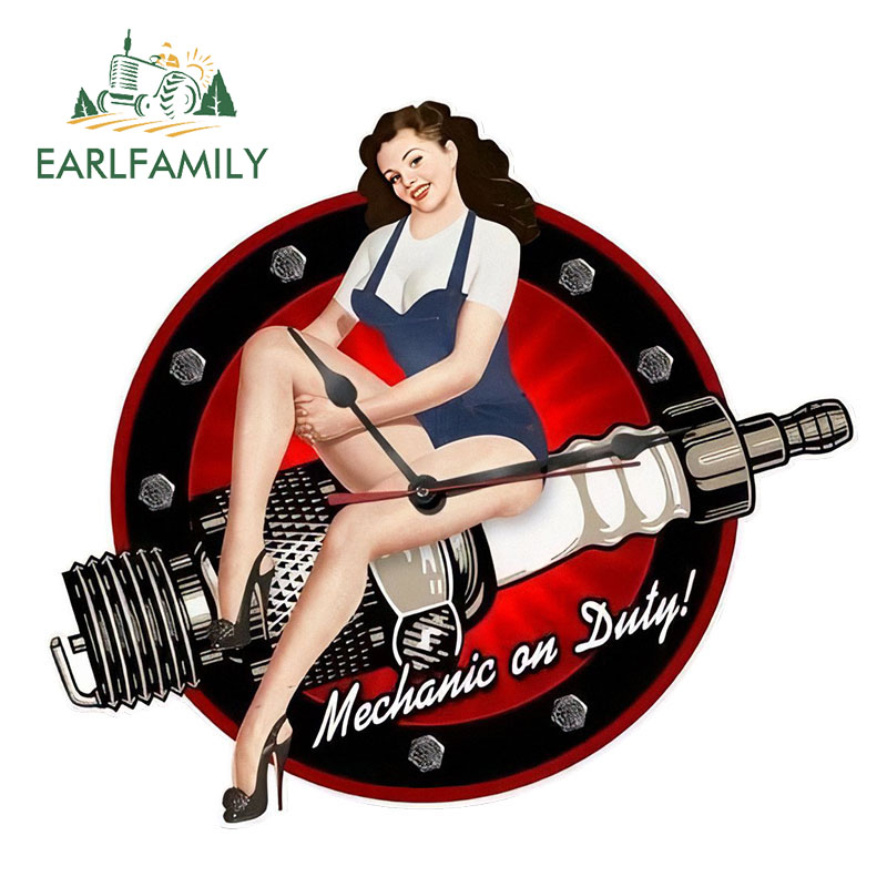 EARLFAMILY 13cm X 11.6cm Car Styling Retro Pin Up Girl Tin Sign Spark Plug Shape Car Window Decal JDM Car Stickers Sexy Graphic