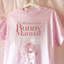 Летняя Женская Ручная футболка с кроликом Playboy, розовая графическая Винтажная Футболка 70s 80s, симпатичная Эстетическая футболка большого ра...