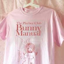 Verão feminino playboy coelho manual camiseta rosa gráfico 70s 80s vintage tshirt oversize bonito presente estético para sua camisa t