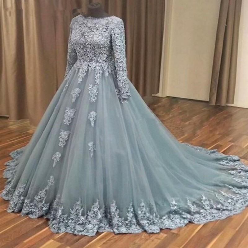 Elegant Ball Gown Muslim Wedding Dress With Long Sleeves Lace Appliques Bridal Gowns Islamic Saudi Arabia Grey Wedding Dresses