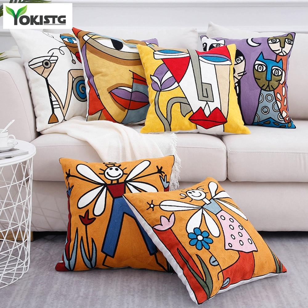 YokiSTG-funda de cojín decorativa bordada Picasso, fundas de cojines, decoración creativa abstracta para el hogar, sofá, Coche