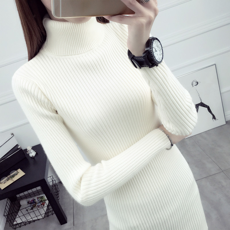 Winter Turtleneck Pullover Fashion Autumn Long Sweater Women Ladies Clothes Spring Tops Sueter Mujer LWL844