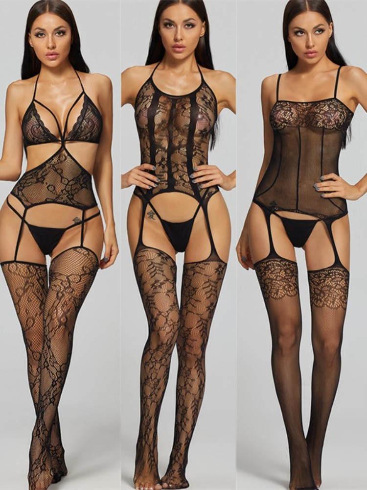 Exotic Lingerie Costumes Stocking Teddy Underwear Body Latex-Slip Mesh Porno-Sexy Hot Women