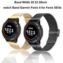 Bracelet de montre en acier inoxydable, 26 22 20MM, pour Garmin Fenix 6S 6X 6 Pro 5X 5 5s 3HR D2 S60, dégagement rapide