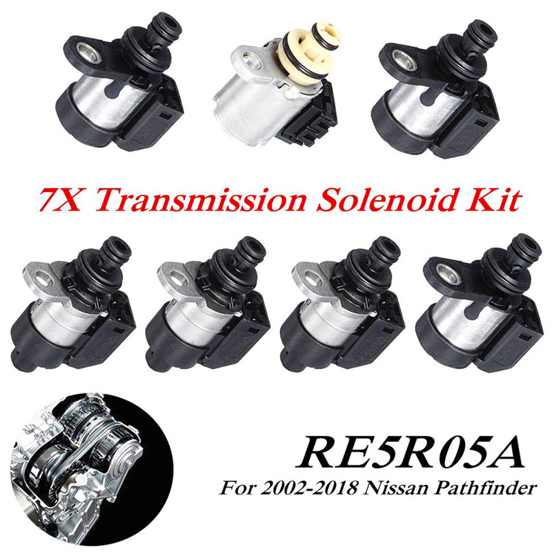 7pcs Automatic RE5R05A Transmission Solenoid Kit For 2002-2018 Nissan Pathfinder Gearbox Solenoid Valve Wave Box Solenoid Valve