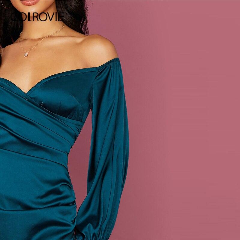 COLROVIE Green Off Shoulder Asymmetrical Hem Satin Dress Women Bishop Sleeve Mini Dress 2020 Spring Sexy Glamorous Dresses 3