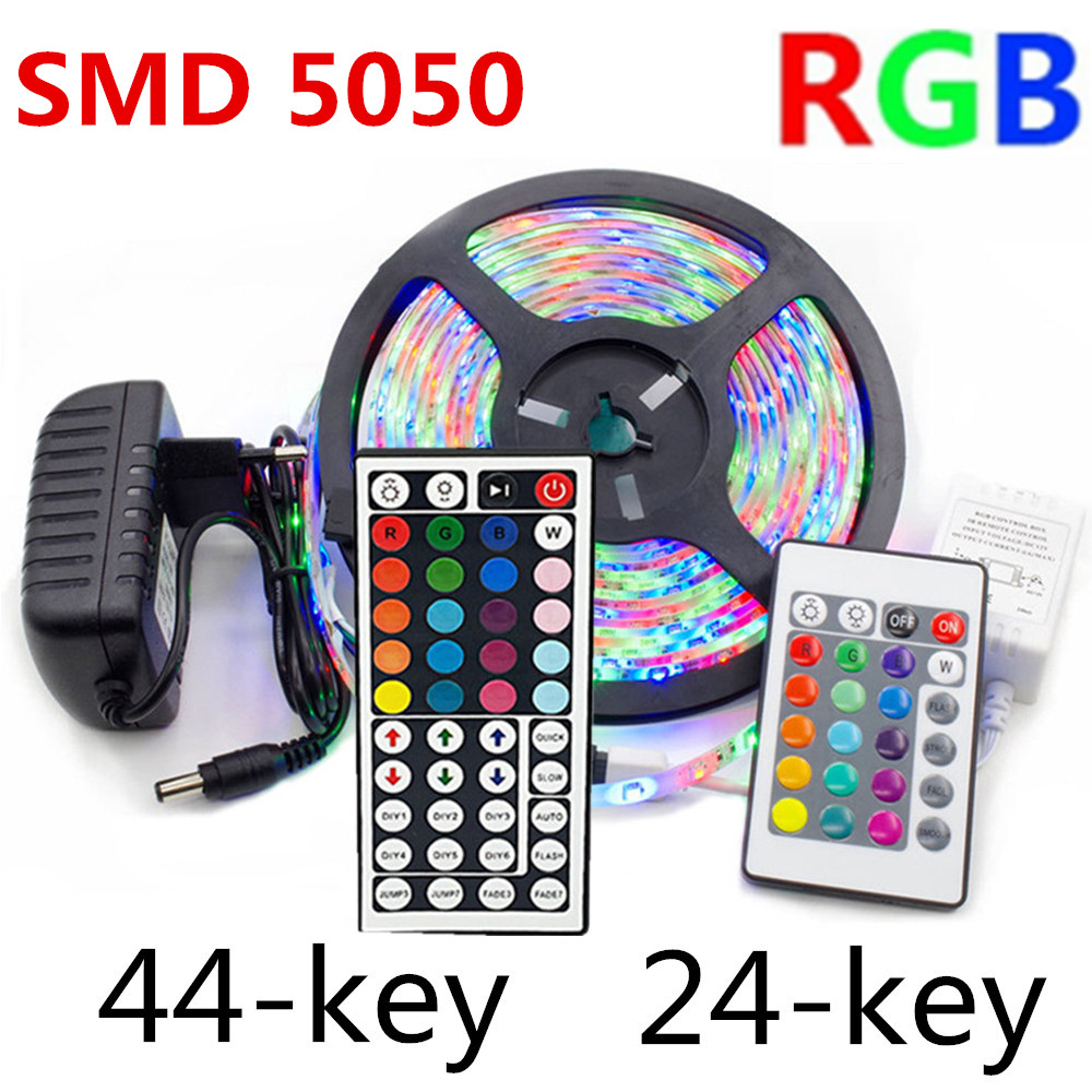 5m 10m 15m LED strip light SMD 5050 DC 12V RGB lights tape waterproof Party neon 5 meters/roll 60LEDs/m IR 24/44 key control set image