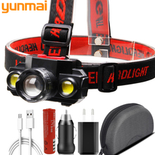 XP-E Q5 & COB Led Headlamp Use Rechargeable 18650 Battery Headlight Zoomable Head Flashlight Lamp Torch Light for Camping Litwod
