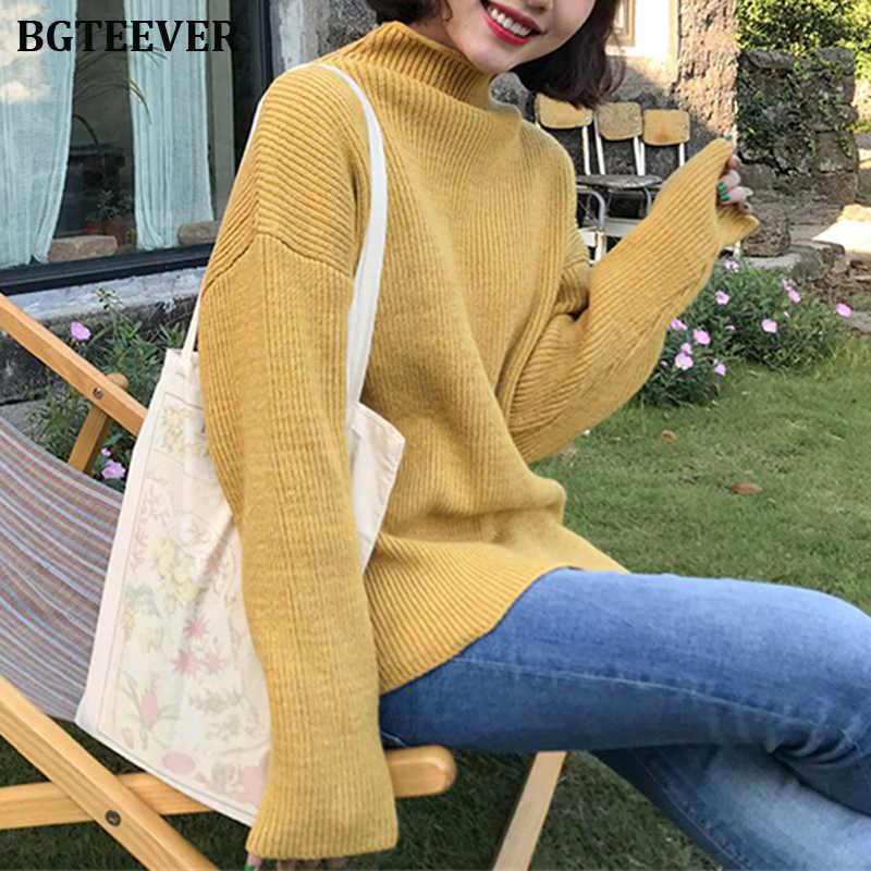 Bgteever 캐주얼 터틀넥 thicken 니트 스웨터 여성 점퍼 long sleeve knitted tops 2019 겨울 스웨터 풀오버 여성