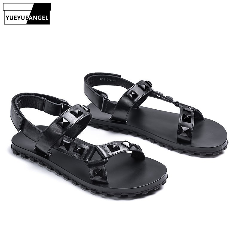2020 Summer Genuine Leather Sandals Men Personalized Beach Shoes Comfortable Rivet Antiskid Slides Male Casual Slippers Black