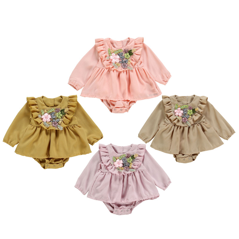 Fashion Newborn Baby Girls Ruffle Rompers Long Sleeve Skirted  Flower Printed Jumpsuit Playsuits Outfit Spring Fall Clothes