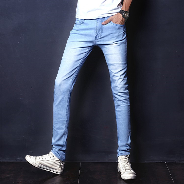 Spring And Autumn Jeans Men Capri Pants Trend Loose-Fit Trousers Solid Color Slim Fit Pants 9 Points Elasticity Korean-style Men