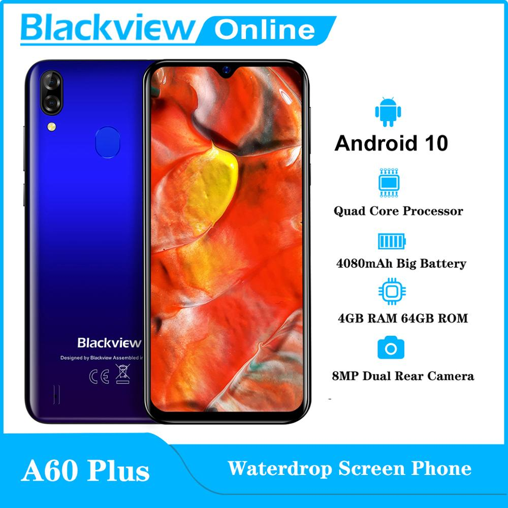 Blackview Новый A60 плюс мобильный телефон Android 10 в виде капли воды, Экран смартфон 4 Гб Оперативная память 64 Гб Встроенная память 6,088 ''HD 4080 мА/ч, моб...