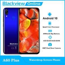 Blackview novo a60 além de telefone móvel android 10 waterdrop tela smartphone 4gb ram 64gb rom 6.088 hd hd 4080mah telefone móvel