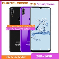Перейти на Алиэкспресс и купить oukitel c16 5.71дюйм. hd+ 19:9 waterdrop smartphone fingerprint android 9.0 mobile phone mt6580p 2g ram 16g rom 2600mah unlock