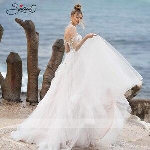 Image 4 - BAZIIINGAAA فستان زفاف فاخر مثير بدون أكمام كتف مكشوف الظهر فستان زفاف نوبل دانتيل خرز دعم خياط