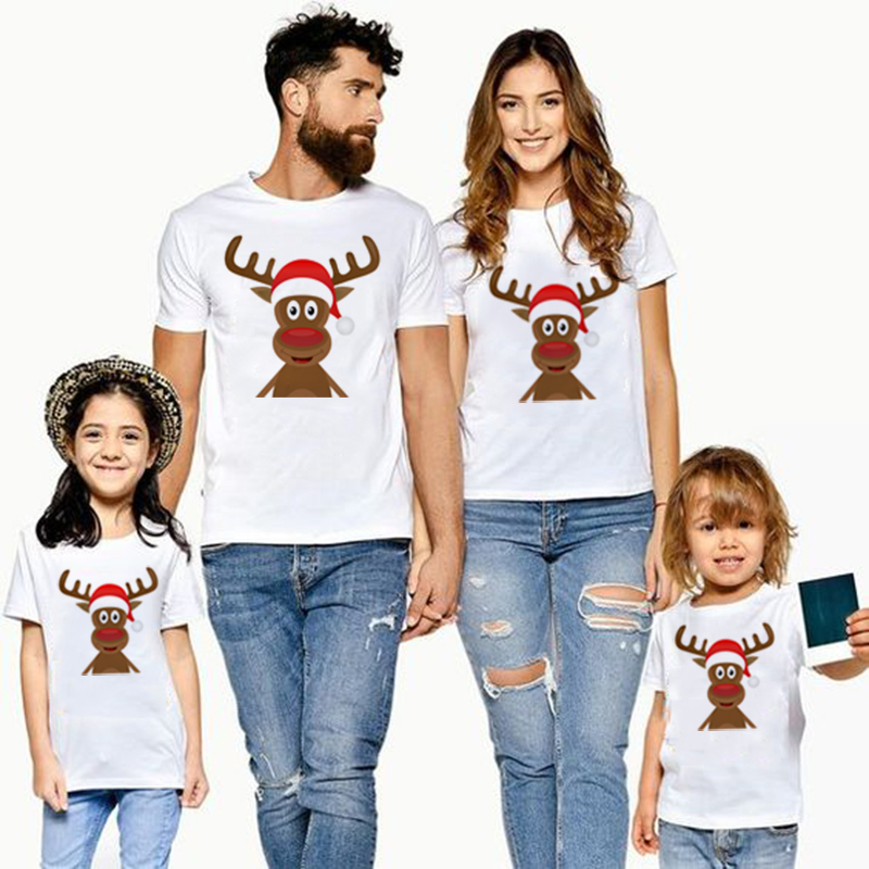 1pcs Christmas Deer Print Family Matching Clothes Mommy Daddy Kids Boys Girls T Shirt Fashion Party Dres Family T Shirt Outfit