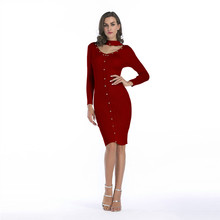 Autumn Dress Fall Dresses For Women Wool Knitted Rivets Decorated Slim Round Neck Rivet Decoration Warm