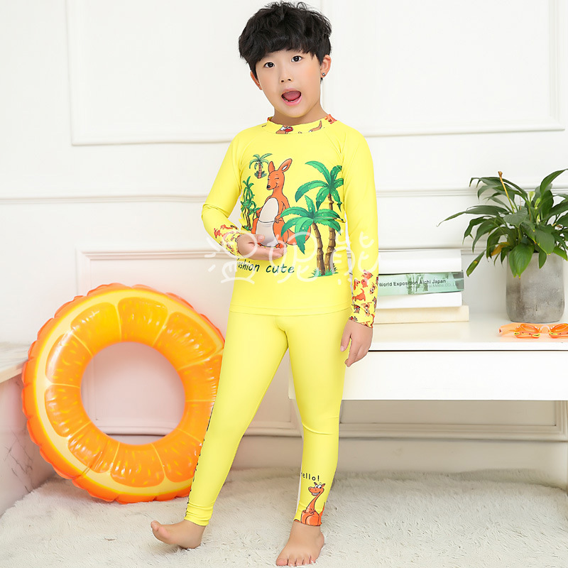 New Style KID'S Swimwear BOY'S Cute Cartoon Printed Split Type Sun-resistant Injury Long Sleeve Trousers Spa Resort Swimwear