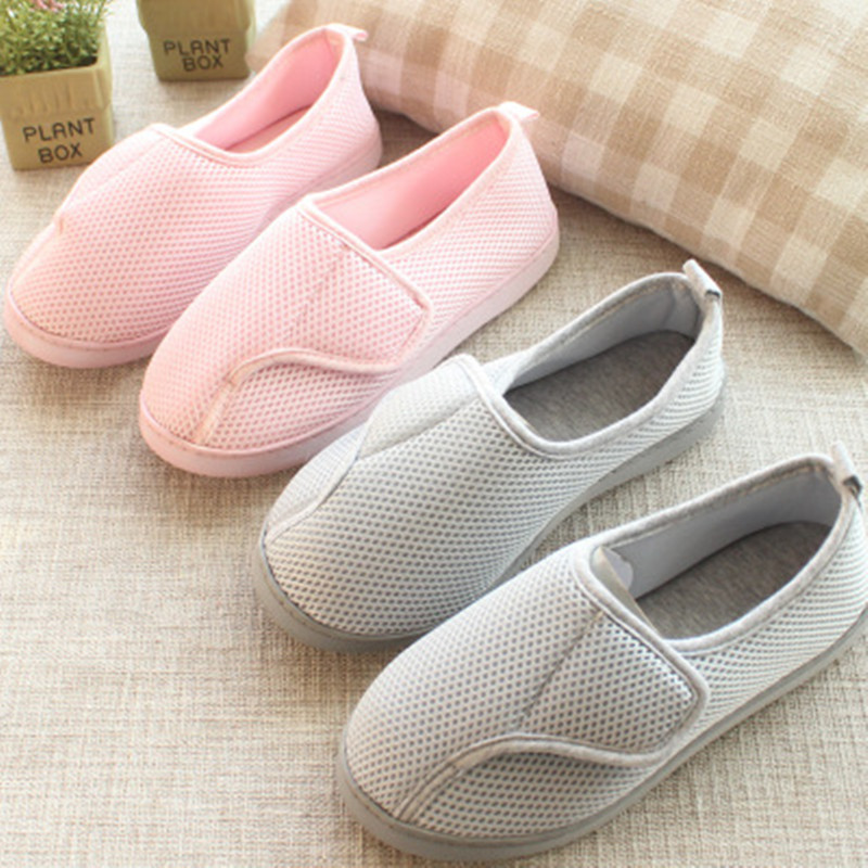 Women Shoes Home Soft Mesh Breathable Pregnant Slippers anti-slip Diabetic Arthritis Edema Slippers for Expectant Mom Extra Wide 2