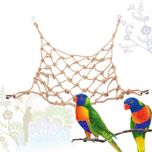 Parrot Bird Toys Hemp Rope Climbing Net Pet Mesh Swing Sling Free Deformation Thick Hemp Rope Pet Funny Toy Pets Gift(China)