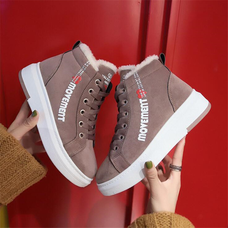 Cotton Shoes Female New Women's Boots 2019 Winter New Wild Warm Student Casual Shoes INS Thick High-Top Snow Boots 33