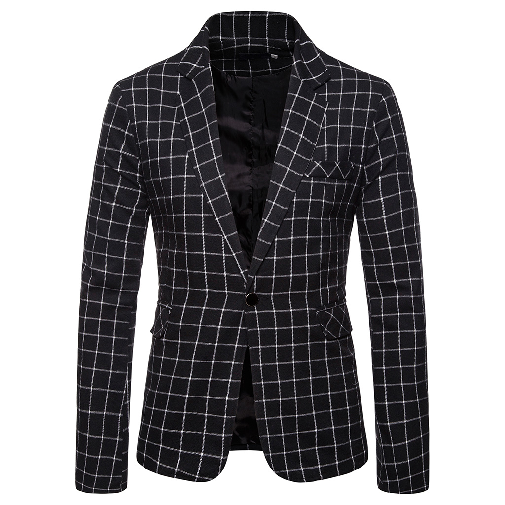 MJARTORIA Blazer Men Suit Fashion Jacket Mens Slim Fit Casual Plaid Jackets Men Blazer Single Button Plus Size Male Wedding Suit