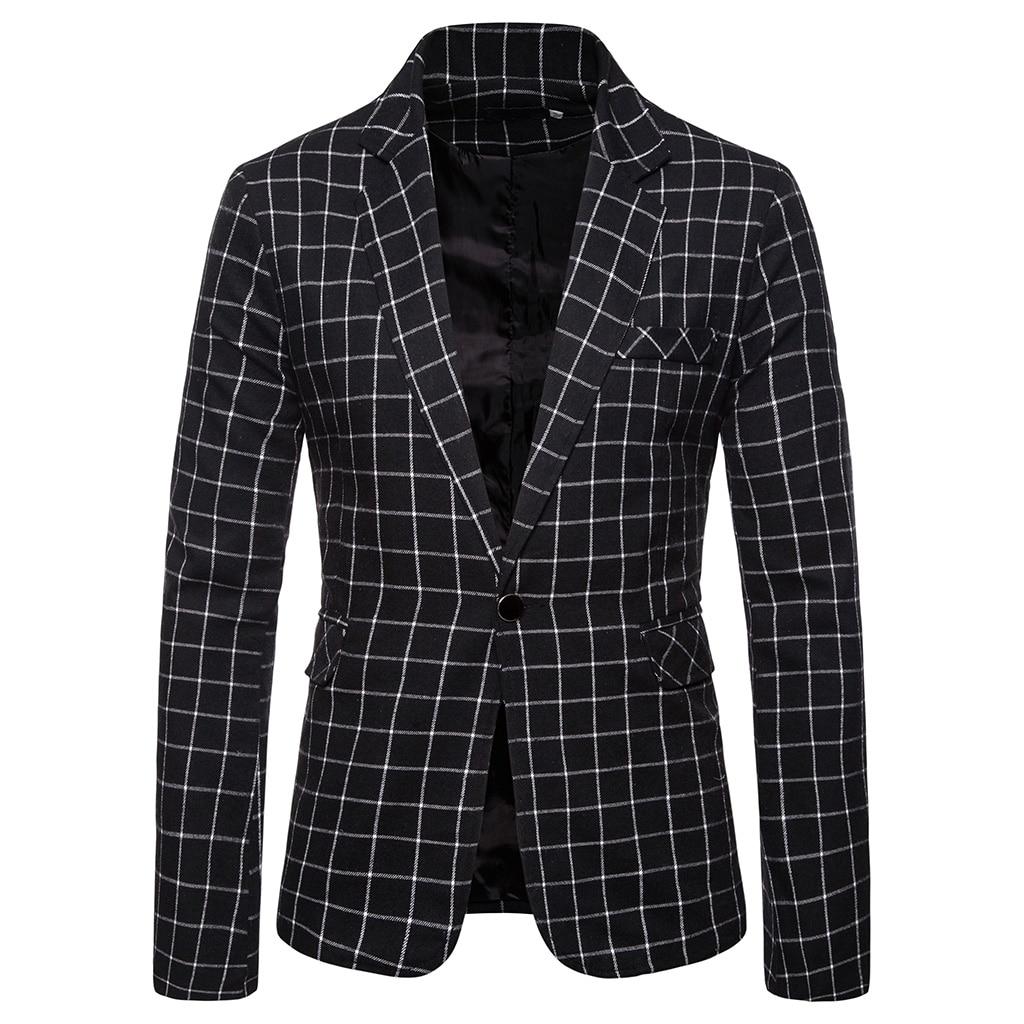 MJARTORIA Blazer Men Suit Fashion Jacket Mens Slim Fit Casual Plaid Jackets Men Blazer Single Button Plus Size Male Wedding Suit